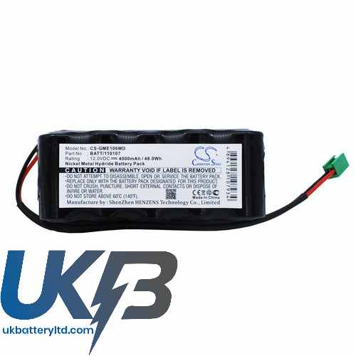 Replacement Battery Batteries For GE 120107 CS GME106MD