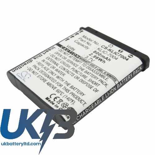 Replacement Battery Batteries For KODAK PlaySport WaterProof HDPocketVideo CS KLIC7004