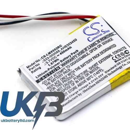 Replacement Battery Batteries For LOGITECH 533 000120 CS LMX052RC