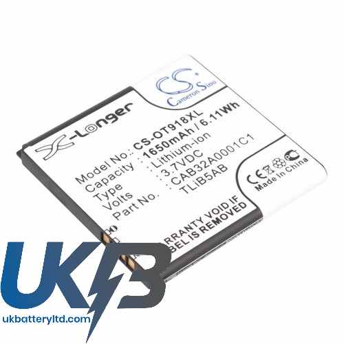 Replacement Battery For Alcatel CAB32A0001C1 TLiB5AB One Touch 918 Mix OT-918
